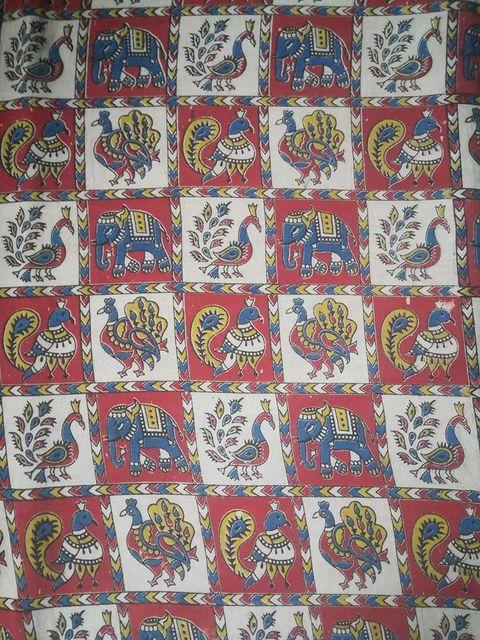 Aarika Kalamkari Cotton Running Material with Checked Pattern