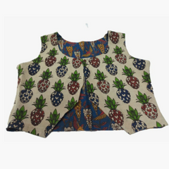 Pink Pearls Blue Kalamkari Cotton Waist Coat