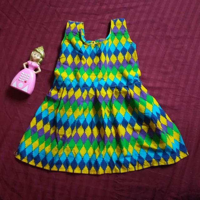 Aarika Green and Blue Printed Cotton Frock