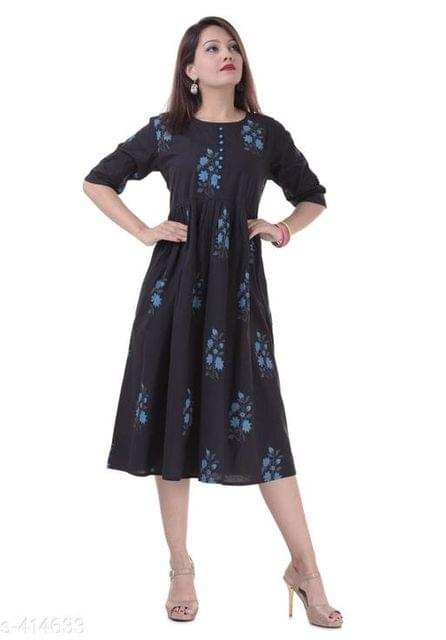 Aarika Black Cotton Printed Kurti