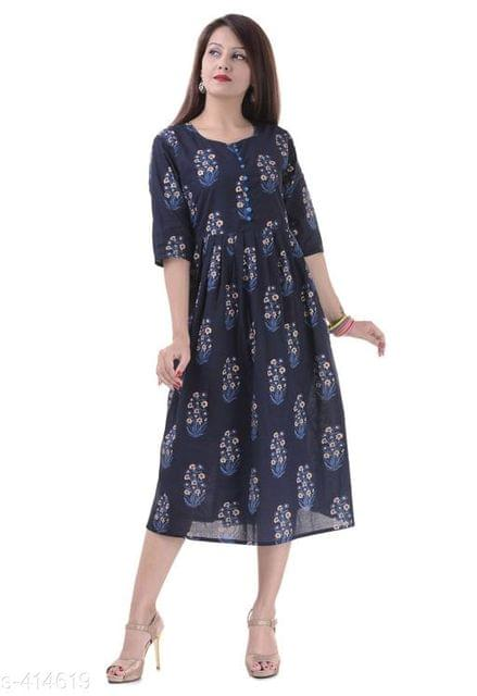Aarika Blue Cotton Printed Kurti