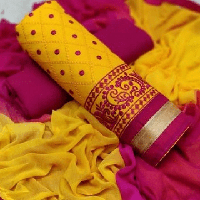 Aarika Yellow Cotton Thread Embroidered Chudithar Material