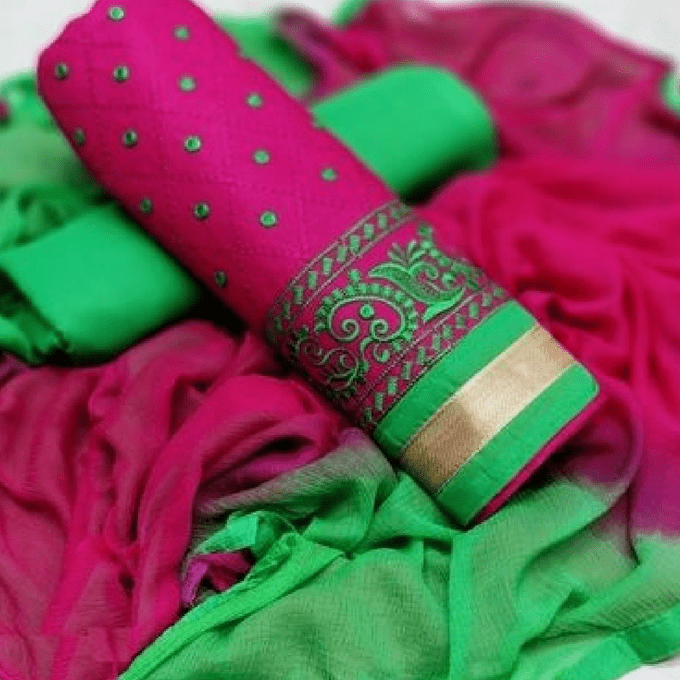Aarika Pink Cotton Thread Embroidered Chudithar Material