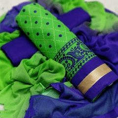 Aarika Green Cotton Thread Embroidered Chudithar Material