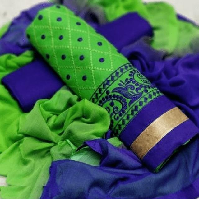 Aarika Green Cotton Thread Embroidered Chudithar Material