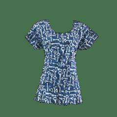 Aarika Blue Cotton Ruffle Short Top