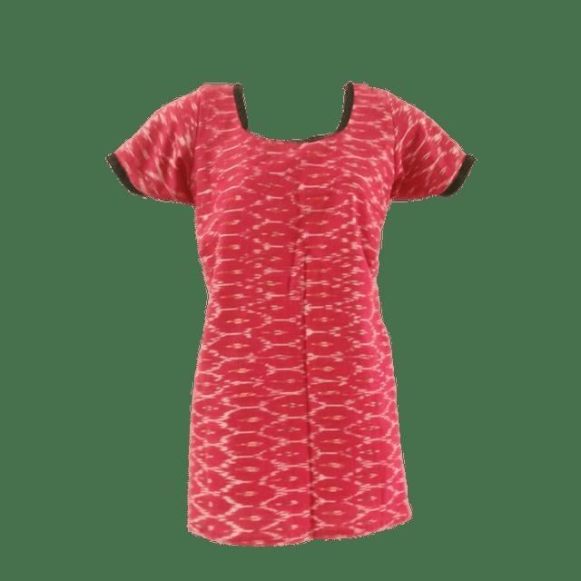 Aarika Pink Cotton Ikkat Short Top