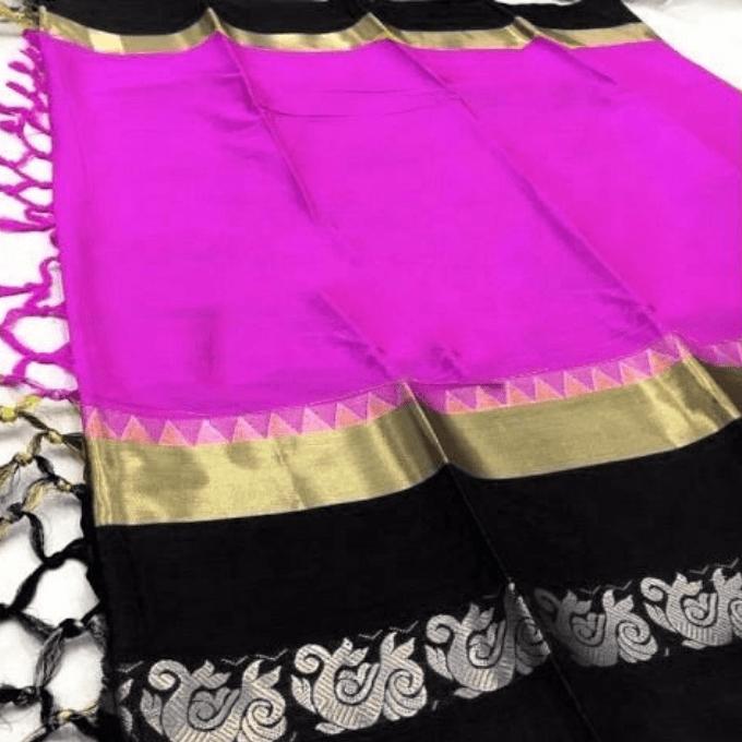 Aarika Pink Silk Cotton Saree with Black Border