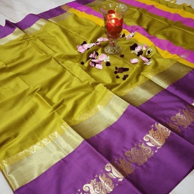 Aarika Mustard Silk Cotton Saree