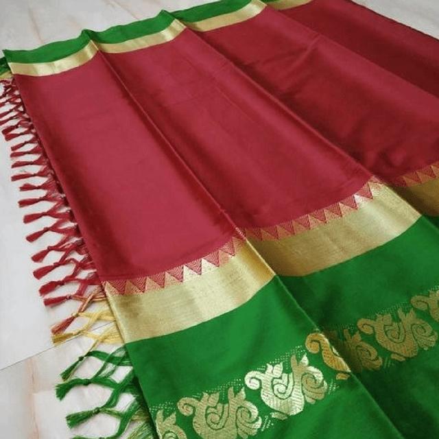 Aarika Red Silk Cotton Saree