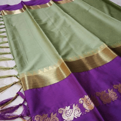 Aarika Cream Silk Cotton Saree