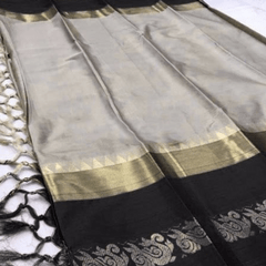 Aarika Cream Silk Cotton Saree with Black Border