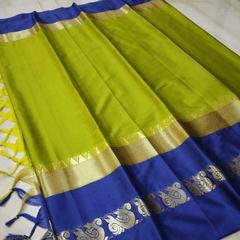 Aarika Light Green Cotton Saree with Blue Border