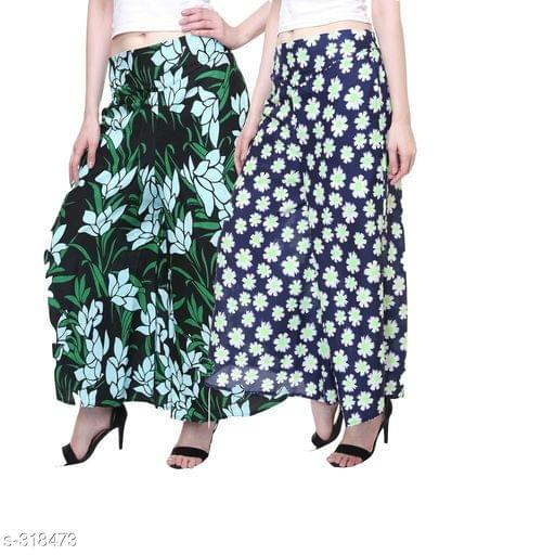 Aarika Blue and Green Crepe Flower Printed Palazzo Combo