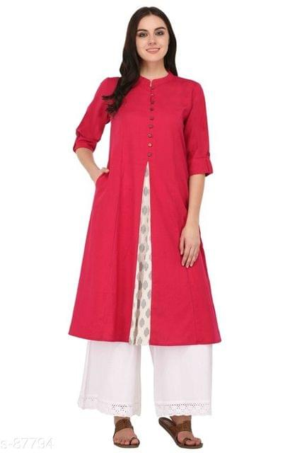 Aarika Pink Cotton High-Slit Mandarin Kurti