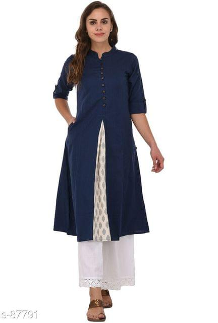 Aarika Blue Cotton High-Slit Mandarin Kurti