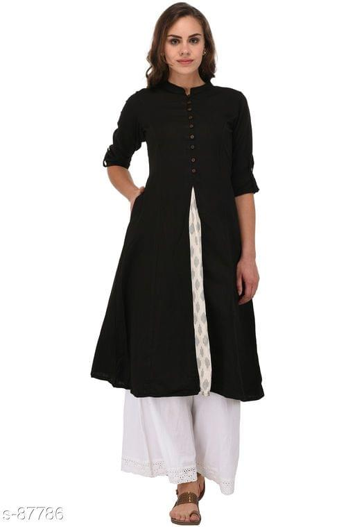 Aarika Black Cotton High-Slit Mandarin Kurti