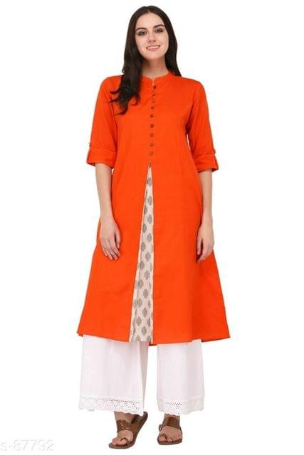 Aarika Orange Cotton High-Slit Mandarin Kurti