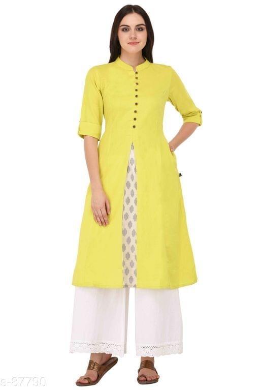 Aarika Yellow Cotton High-Slit Mandarin Kurti