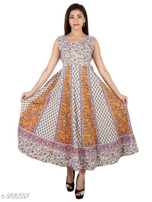 Aarika Light Brown Jaipuri Cotton Kurti