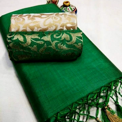 Pink Pearls Green Silk Cotton Plain Saree With 2 Blouses