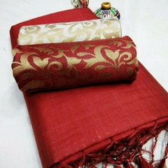 Pink Pearls Maroon Silk Cotton Plain Saree With 2 Blouses