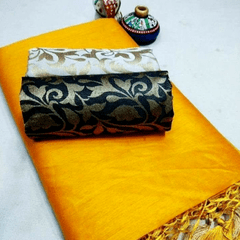 Pink Pearls Yellow Silk Cotton Plain Saree With 2 Blouses