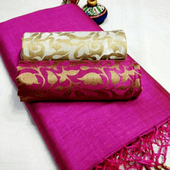Pink Pearls Pink Silk Cotton Plain Saree With 2 Blouses