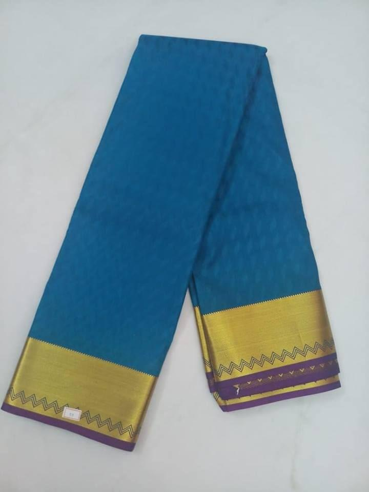 Pink Pearls Soft Semi-Silk Blue Saree With Contrast Blouse.