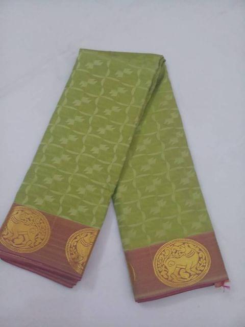 Pink Pearls Soft Semi-Light Green Saree With Contrast Blouse.