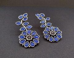Smile Decors Royal Blue Floral Earrings