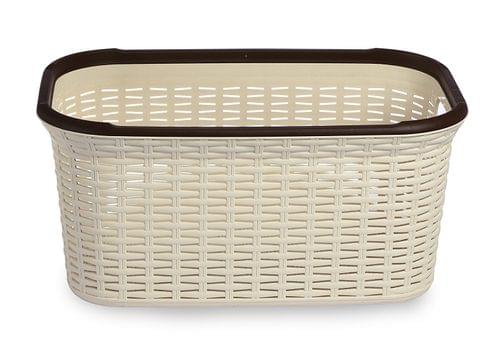 All Time Plastics Rattan Plastic Open Storage Bin, 27 Litres, Cream 406674-1 27CREAMA