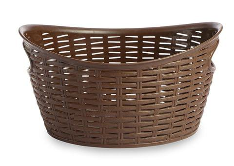 All Time Plastics Rattan Plastic Open Storage Bin, 9 Litres, Brown 9OVALBROWN