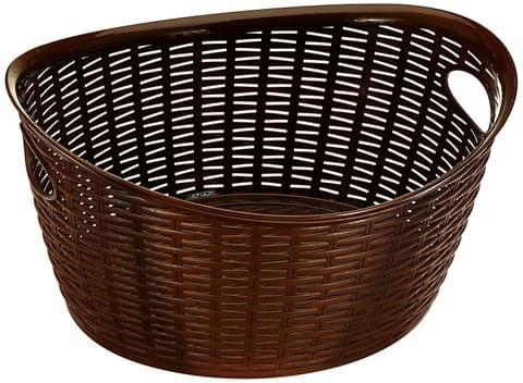 All Time Plastics Rattan Plastic Open Storage Bin, 27 Litres, Brown 406683-1 27OVALBROWN