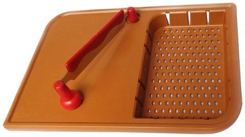 Blaze Steel & Plastic Chopping Board with Basket, 1-Piece, Brown GH305