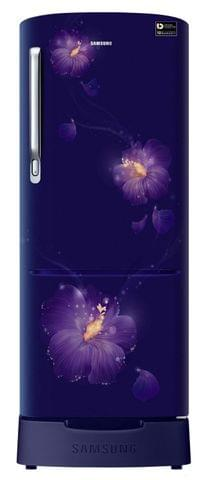Samsung 230 L 3 Star Direct Cool Single Door Refrigerator(RR24M285ZU3/NL, Rose Mallow Blue, Base Stand with Drawer, Inverter Compressor)