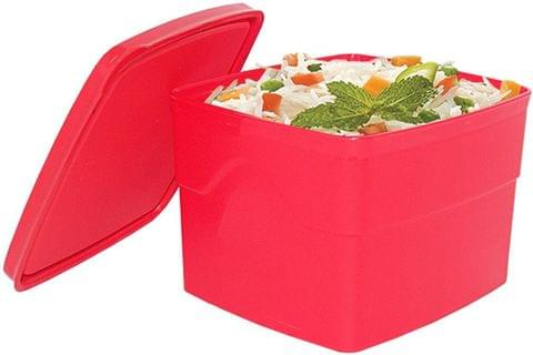 Cello Max Fresh Classic Square Large Polypropylene Container, 875ml, Red A059(Red)