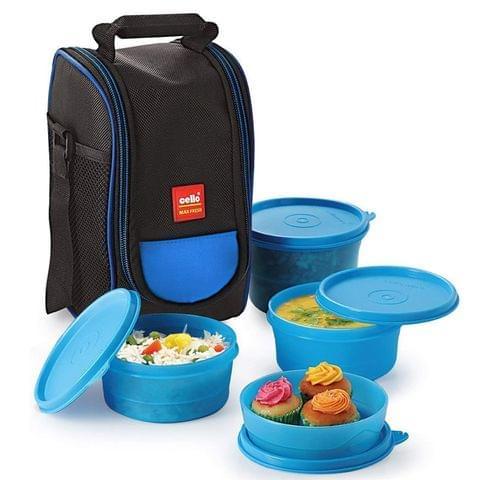 Cello Max Fresh Super Polypropylene Lunch Box Set, 225ml, 4-Pieces, Blue (A09Blue)