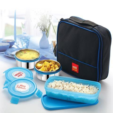 Cello Max Fresh Perfect 3 Container Lunch Box With Bag,Multicolour A100(Blue)