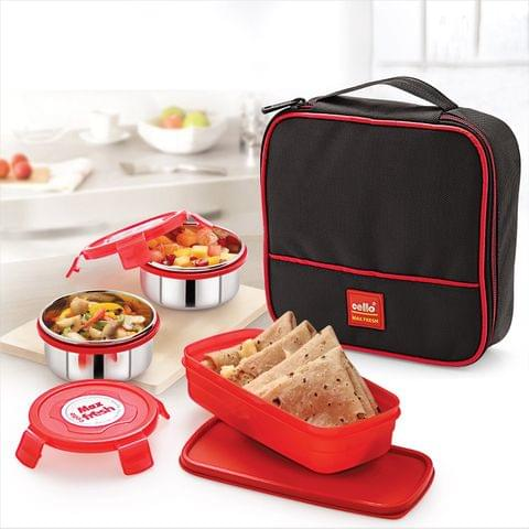 Cello Max Fresh Perfect 3 Container Lunch Box with Bag A100(Red)
