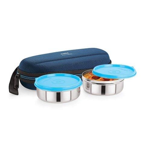 Cello Max Fresh Super Steel Lunch Box Set, 2-Pieces, Blue A101(Blue)