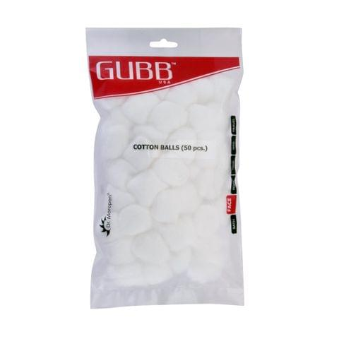 Gubb USA Cotton Balls White 50 Pieces For Face Cleansing & Makeup Removal GUBB-007
