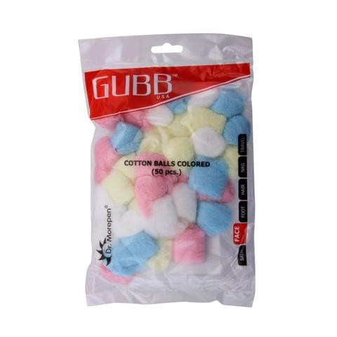 Gubb USA Cotton Balls Coloured 50 Pieces For Face Cleansing & Makeup Removal GUBB-008