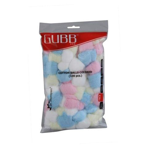 Gubb USA Cotton Balls Coloured 100 Pieces For Face Cleansing & Makeup Removal GUBB-009
