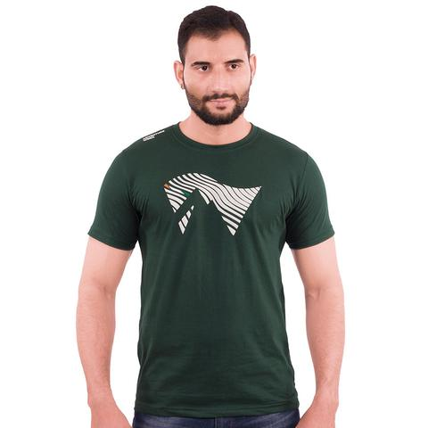 Men's V-neck, cotton T-shirt – Dark green