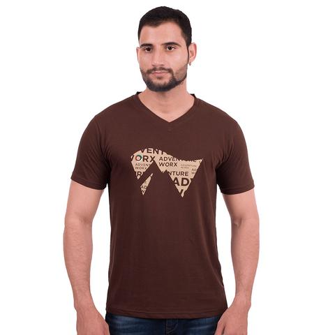 Men's V-neck, cotton T-shirt - Chocolate