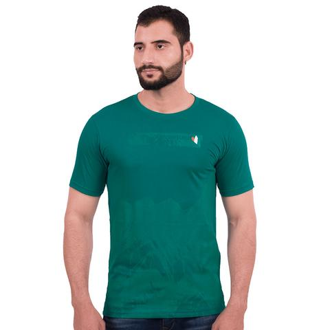 Men's round-neck, cotton T-shirt - green