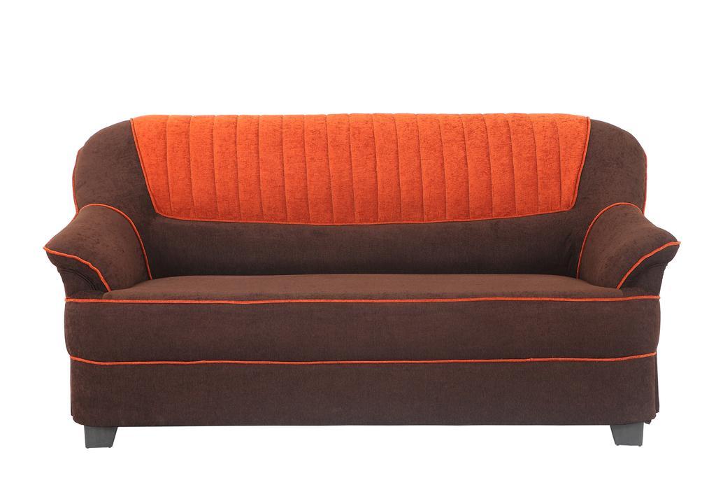 Cochin 3 Seater Fabric Sofa  in Brown-Orange