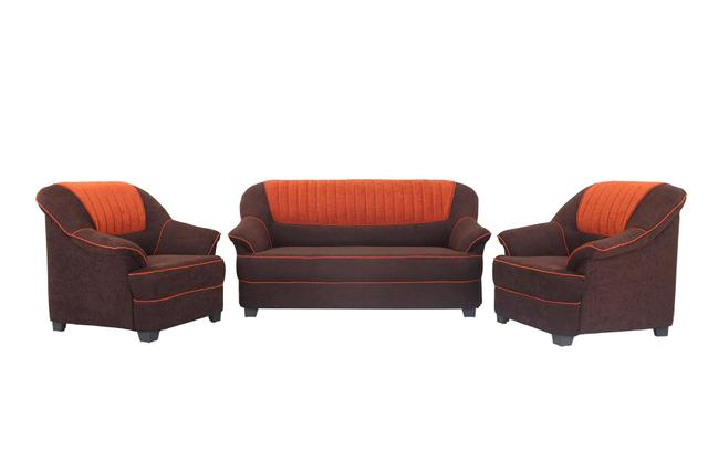 Cochin 3+1+1 Fabric Sofa Set in Brown-Orange