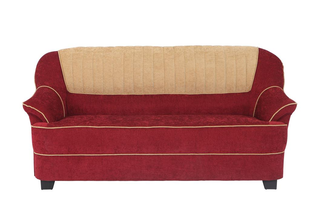 Cochin 3 Seater Fabric Sofa in Maroon-Camel